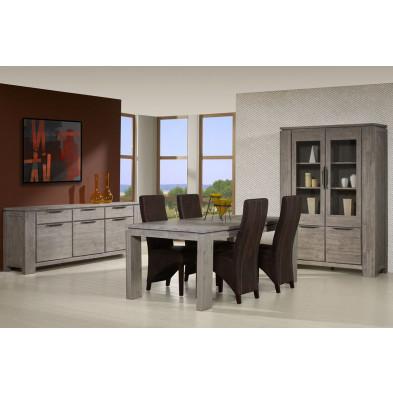 Salle à manger complète contemporaine gris en bois massif acacia Collection Orrnys