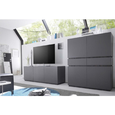 Ensemble meuble tv gris design  collection Shanne