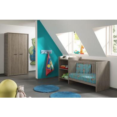Composition chambre bébé contemporaine coloris chêne gris collection Smile