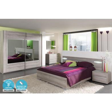 Pack chambre à coucher adulte contemporain coloris chêne en panneaux de particules mélaminés et décors papier 140 x 200 cm Collection Mackey