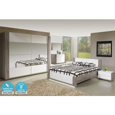 Pack chambre à coucher adulte contemporaine blanc en panneaux de particules et décors papier 140 x 200 cm Collection Absorb