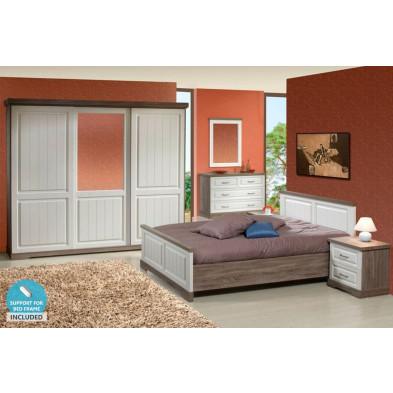 Pack chambre à coucher adulte contemporaine blanc en panneaux de particules et décors papier 140 x 200 cm Collection Statesboro