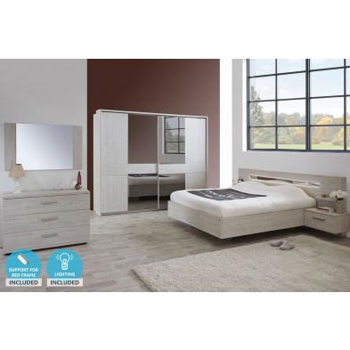 Pack chambre à coucher adulte contemporaine gris en panneaux de particules et décors papier 140 x 200 cm Collection Zerbino