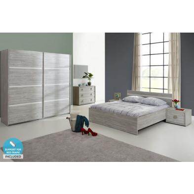 Pack chambre à coucher adulte contemporain coloris chêne en panneaux de particules de haute qualité Collection Shackerstone