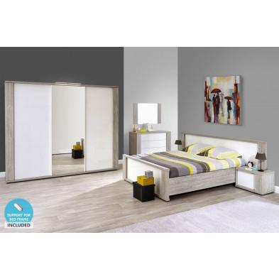 Pack chambre à coucher adulte contemporaine coloris blanc en panneaux de particules de haute qualité et papier décor Collection Warunn