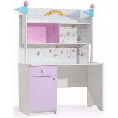 Bureau enfant blanc design en panneaux de particules mélaminés de haute qualité 121 cm de largeur collection Azzone