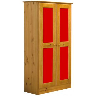 Armoire enfant rouge contemporaine en bois massif pin L. 54 x H. 196 cm collection Genoveffa