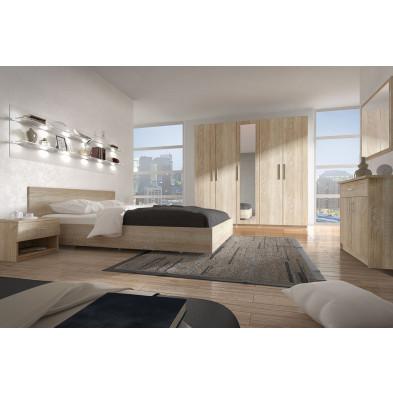 Chambre adulte complète marron contemporain en panneaux de particules de haute qualité collection Henson
