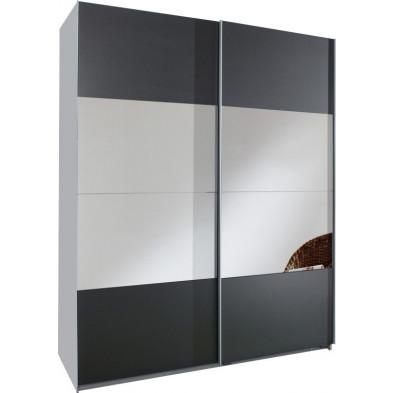 Armoire porte coulissante gris moderne en panneaux de particules mélaminés de haute qualité L. 135 x P. 64 x H. 198 cm collection Schuiling