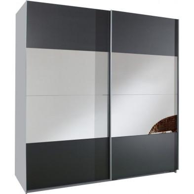 Armoire porte coulissante gris design en panneaux de particules de haute qualité L. 179 x P. 64 x H. 198 cm collection Schuiling