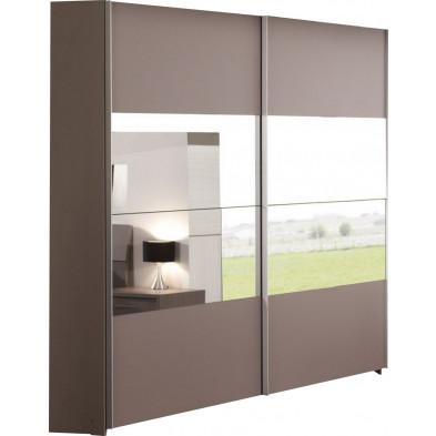 Armoire  gris contemporain en panneaux de particules mélaminés de haute qualité L. 200 x P. 73 x H. 216 cm  collection Siemons