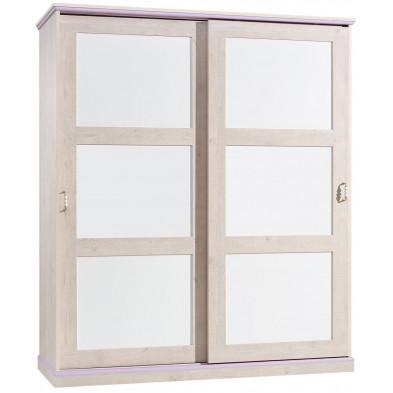 Armoire porte coulissante blanc romantique en panneaux de particules mélaminés de haute qualité collection Lugros