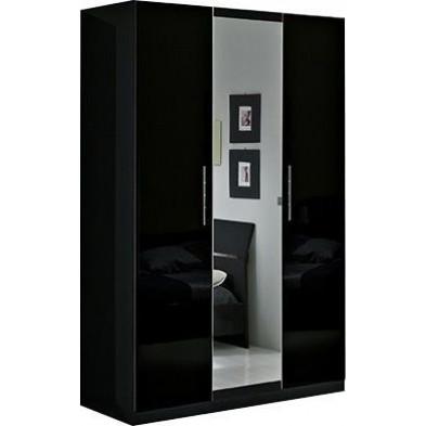 Armoire enfant noir design en panneaux de particules de haute qualité L. 135 x P. 58 x H. 210 cm collection Derry