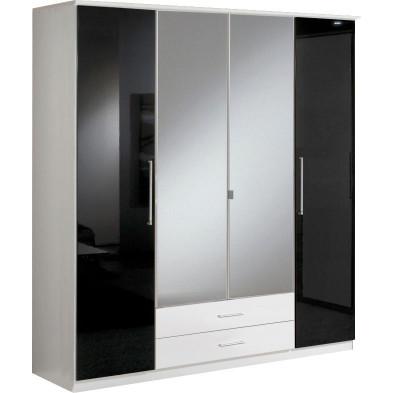 Armoire adulte blanc contemporain en panneaux de particules de haute qualité L. 180 x P. 58 x H. 199 cm collection Chiarano
