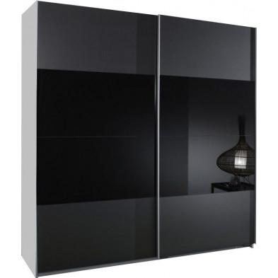Armoire porte coulissante gris design en panneaux de particules mélaminés de haute qualité L. 135 x P. 64 x H. 198 cm collection Schuiling