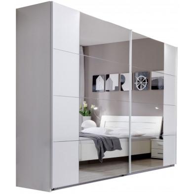 Armoire adulte blanc contemporain en panneaux de particules mélaminés de haute qualité L. 270 x P. 59 x H. 210 cm collection Fifekeith