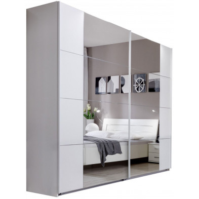 Armoire porte coulissante blanc design en panneaux de particules mélaminés de haute qualité L. 225 x P. 59 x H. 210 cm collection Fifekeith