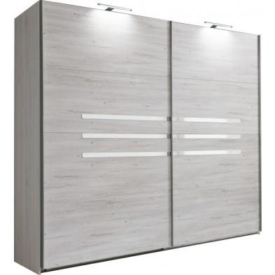 Armoire porte coulissante blanc contemporain en panneaux de particules mélaminés de haute qualité L. 225 x P. 65 x H. 210 cm collection Niederrasen