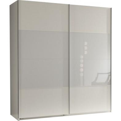 Armoire porte coulissante blanc design en panneaux de particules de haute qualité L. 179 x P. 64 x H. 198 cm collection Schuiling