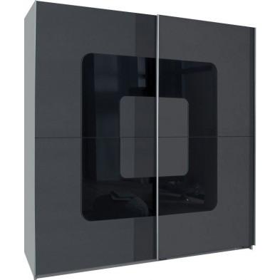 Armoire porte coulissante gris design en panneaux de particules de haute qualité L. 180 x P. 64 x H. 198 cm collection Qualls
