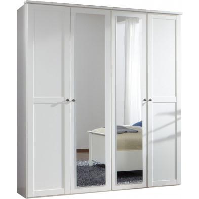 Armoire adulte blanc contemporain en panneaux de particules mélaminés de haute qualité L. 180 x P. 58 x H. 210 cm collection Vanliempt