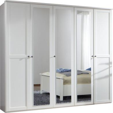 Armoire adulte blanc contemporain en panneaux de particules mélaminés de haute qualité L. 225 x P. 58 x H. 210 cm collection Vanliempt