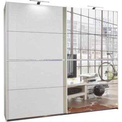 Armoire porte coulissante blanc design en panneaux de particules mélaminés de haute qualité L. 270 x P. 64 x H. 210 cm collection Contest