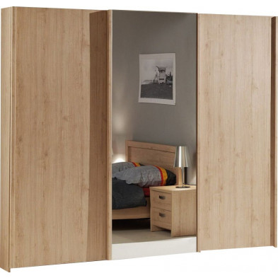 Armoire 3 portes marron contemporain en panneaux de particuels L. 250 x P. 72 x H. 216 cm  collection Yosra