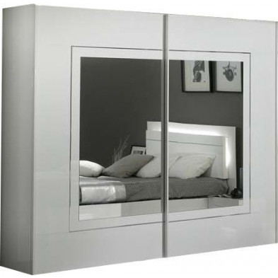Armoire porte coulissante blanc design L. 200 x P. 63 x H. 210 cm collection Nomi