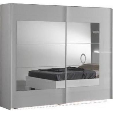 Armoire porte coulissante blanc design L. 240 x P. 63 x H. 210 cm collection Anapaola