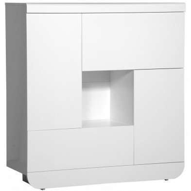 Vitrine blanc design en bois mdf L. 120 x P. 46 x H. 129 cm collection Jessie