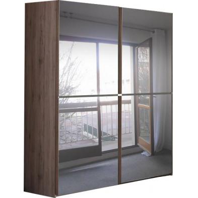 Armoire porte coulissante marron contemporain en panneaux de particules mélaminés de haute qualité L. 193,2 x P. 64,8 x H. 220 cm collection Eldard