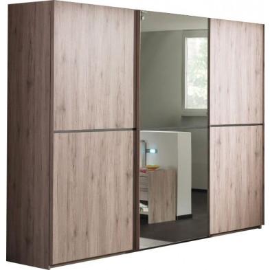 Armoire porte coulissante marron contemporain en panneaux de particules mélaminés de haute qualité L. 280 x P. 65 x H. 220 cm collection Eldard