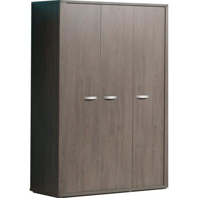 Armoire 3 portes marron contemporain en panneaux de particules mélaminés de haute qualité  L. 142 x P. 64 x H. 200 cm collection Ashwater