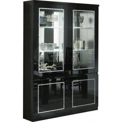 Vitrine noir design L. 115 x P. 40 x H. 191 cm collection Ottawa