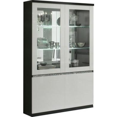 Vitrine noir design en panneaux de particules de haute qualité L. 115 x P. 40 x H. 191 cm collection Kentwood