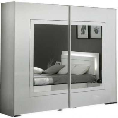 Armoire porte coulissante blanc design L. 240 x P. 63 x H. 210 cm collection Nomi