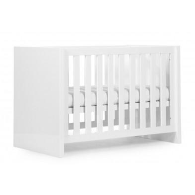 Lit bébé moderne blanc en bois MDF et panneaux de particules de haute qualité 60x120cm Collection Thomasburg
