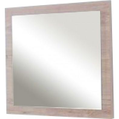 Miroir contemporain beige en panneaux de particules mélaminés L. 60 x P. 2 x H. 60 cm Collection Northbend