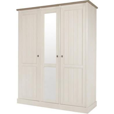 Armoire 3 portes contemporaine blanc et marron en bois mdf et panneaux de particules mélaminés L. 171.4 x P. 61 x H. 212.8 cm Collection Neerlanden