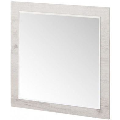 Miroir mural contemporain blanc en panneaux de particules mélaminés L. 60 x P. 2 x H. 60 cm Collection Neerlanden