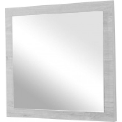 Miroir mural contemporain blanc et gris en panneaux de particules mélaminés L. 60 x P. 2 x H. 60 cm Collection Lizette