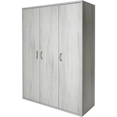Armoire 3 portes blanc contemporain en bois mdf L. 152.1 x P. 55 x H. 205.6 cm collection Holzen