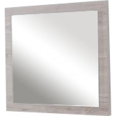 Miroir contemporain beige en panneaux de particules mélaminés L. 60 x P. 2 x H. 60 cm Collection Wendel