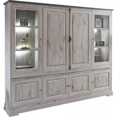 Argentier - vaisselier - vitrine contemporaine gris en bois mdf et panneaux de particules mélaminés L. 245.6 x P. 211.6 x H. 50 cm Collection Vanderdoes