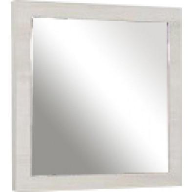 Miroir mural contemporain blanc en panneaux de particules mélaminés L. 60 x P. 2 x H. 60 cm Collection Little