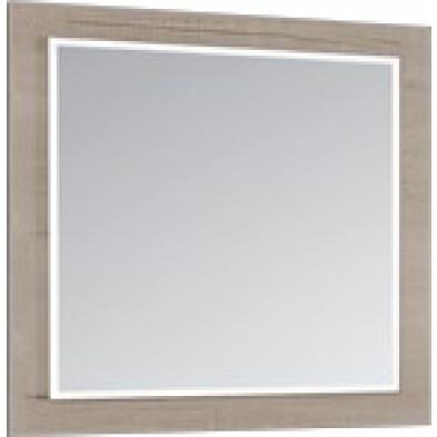 Miroir mural contemporain beige en panneaux de particules mélaminés L. 60 x P. 2 x H. 60 cm Collection Alpedriz