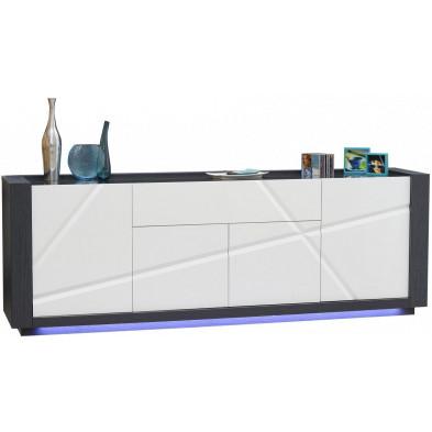 Buffet - bahut - enfilade blanc design en bois mdf L. 240 x P. 50 x H. 83 cm collection Loof