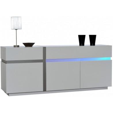 Buffet - bahut - enfilade blanc design en panneaux de particules de haute qualité L. 200 x P. 50 x H. 84 cm collection Meulemans