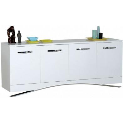 Buffet - bahut - enfilade blanc design en bois mdf L. 200 x P. 51 x H. 82 cm collection Vandenboom